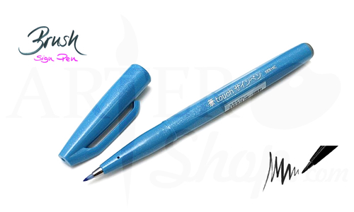 Ручка кисточка Brush Sign Pen Цвет голубой SES15C-S